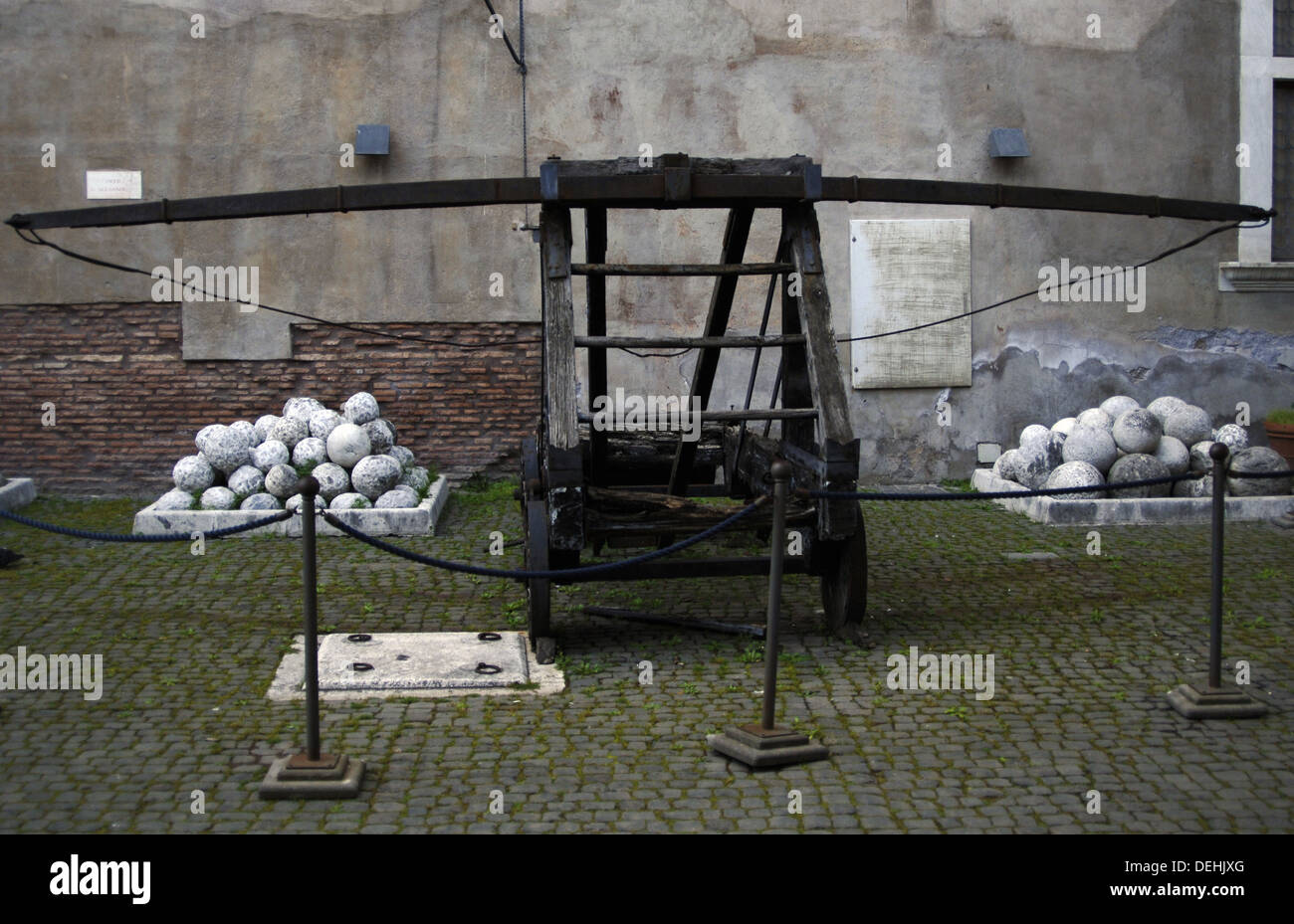 Italy. Rome. Catapult and ammunition. Castel Sant'Angelo. - Stock Image