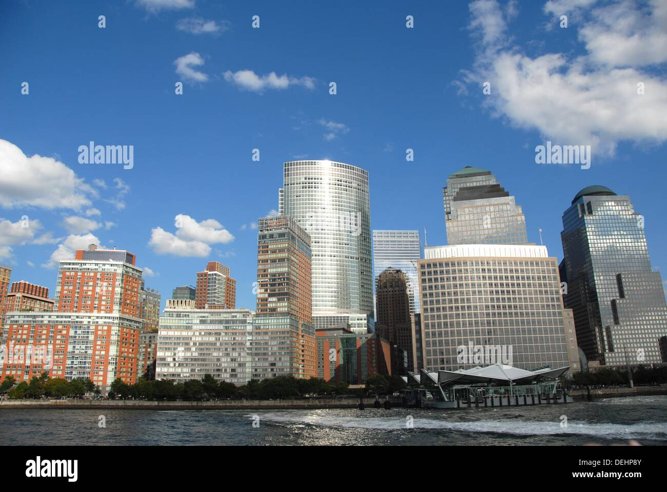 The World Financial Center buildings and Ground Zero from the Hudson River. Lower Manhattan West.  New York, New York. USA. - Stock Image
