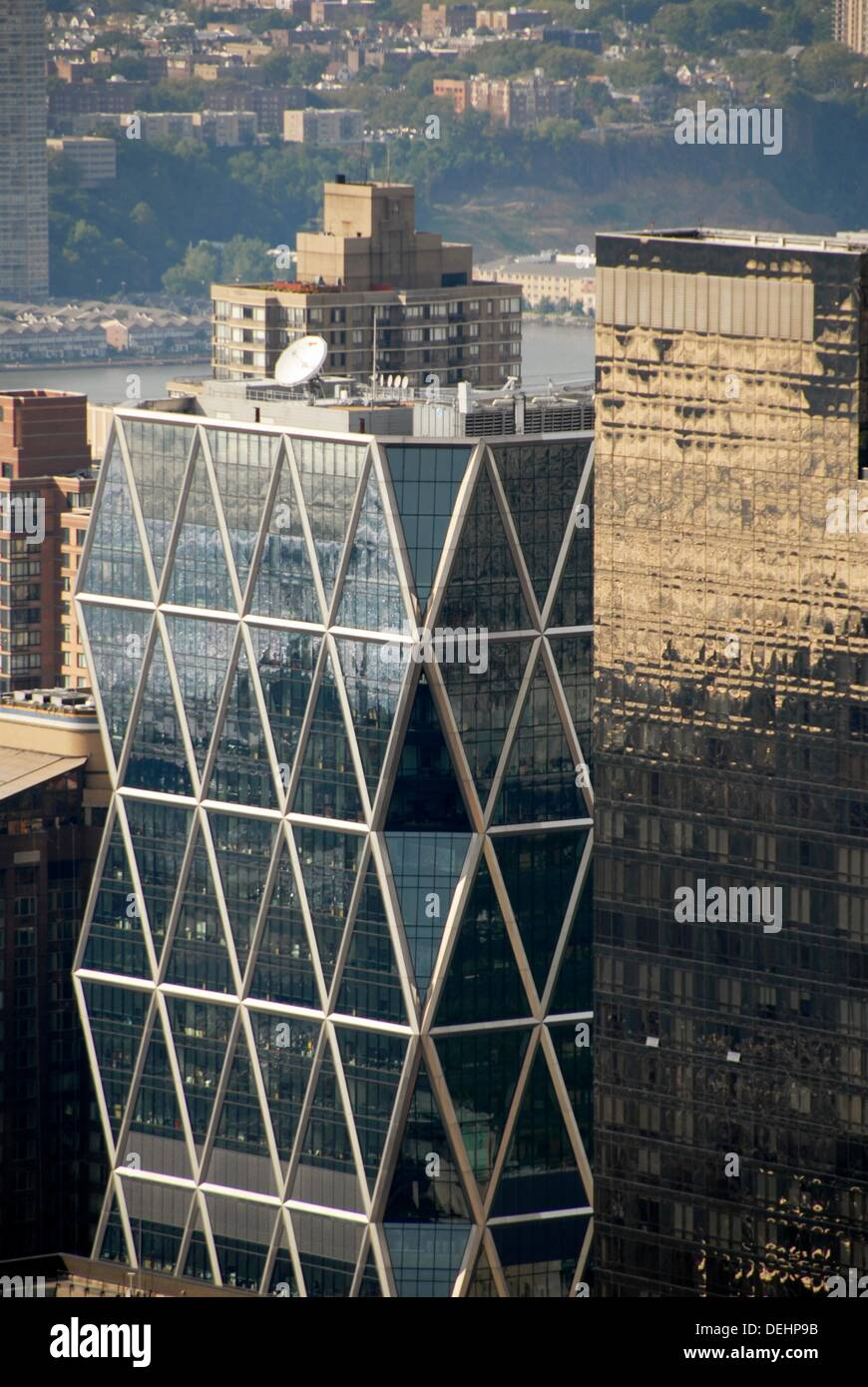 Aerial view of the Norman Foster's Hearst Tower, built on top of the 1928 Hearst building in 2006., Northwest Manhattan, New - Stock Image