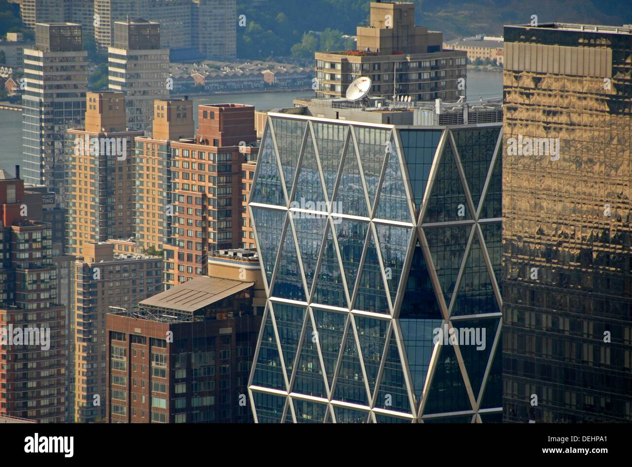 Office and apartment buildings in West Manhattan, Norman Foster's Hearst Tower, is on the foreground. Northwest Manhattan, New - Stock Image