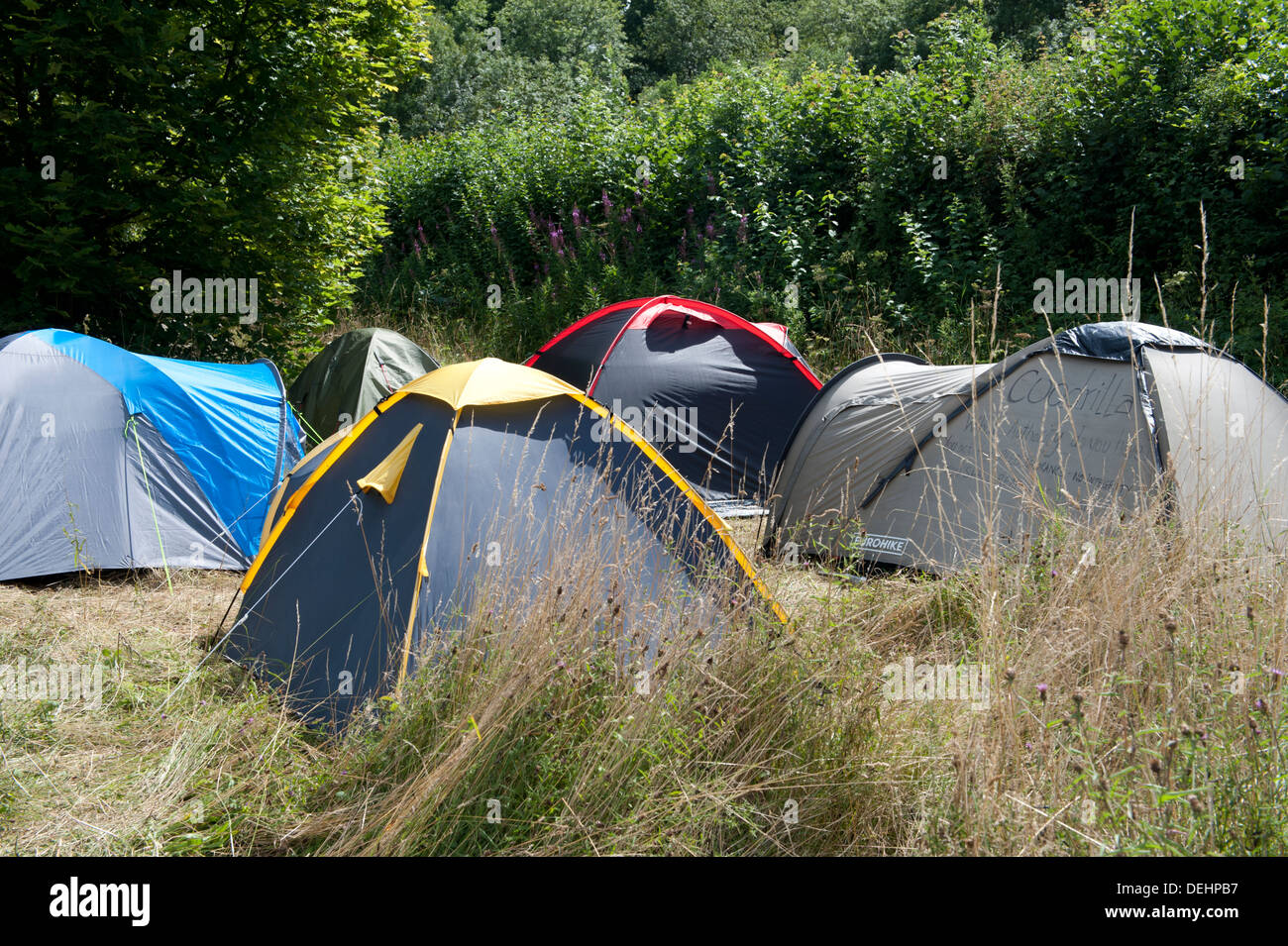 Part of a tented  village near Balcombe, UK set up by protesters at the Cuadrilla drilling site. - Stock Image