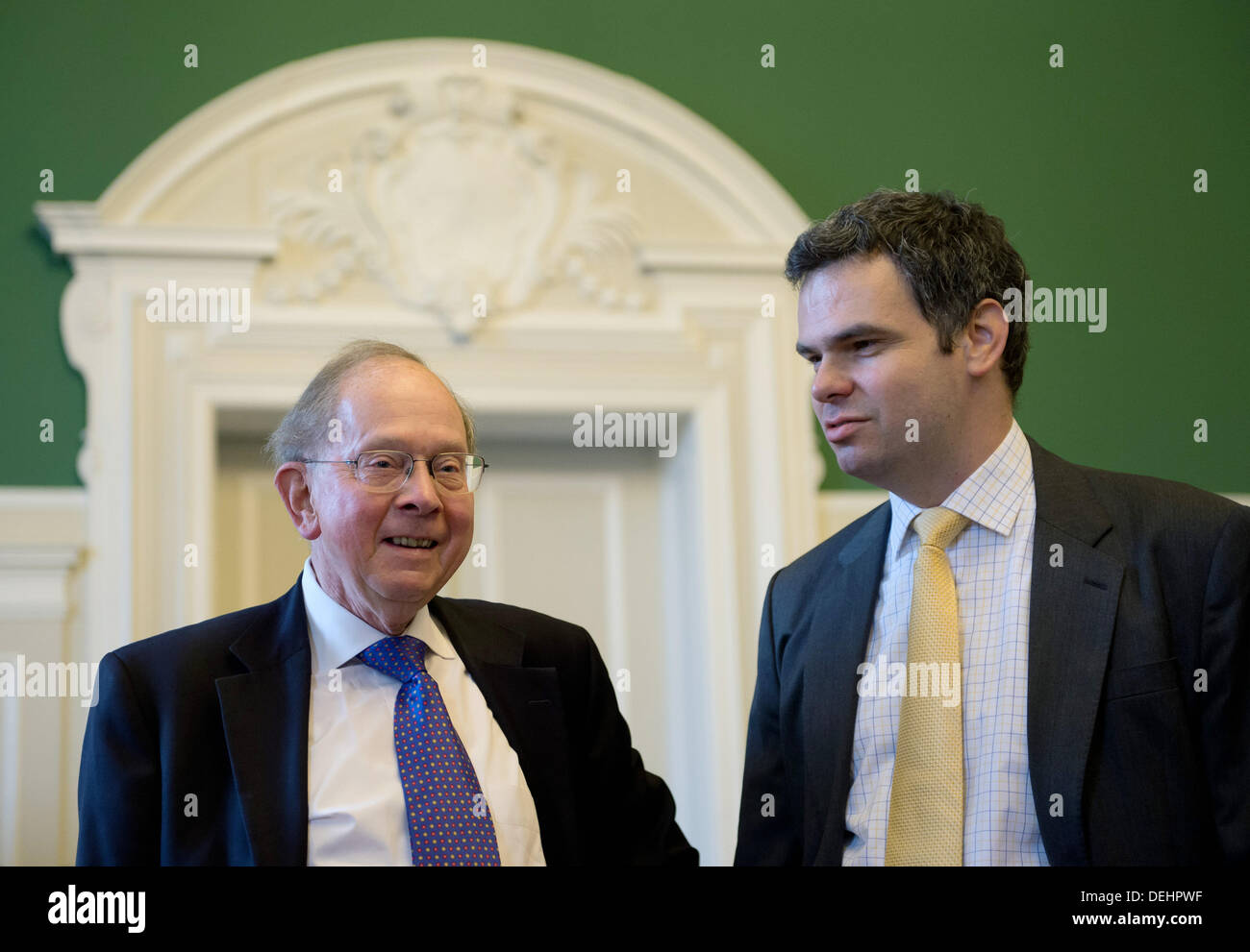Lawyer Franz Guenter Siebeck (L) and Wolfgang Ruths, head of division at the Federal Air Traffic Controlling - Stock Image