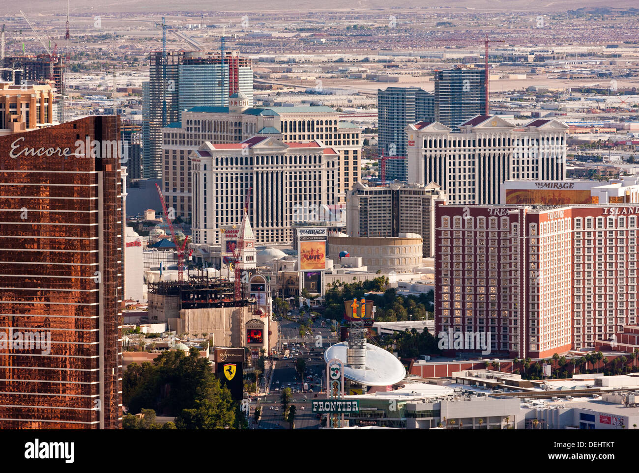 Las Vegas Nevada USA The Strip with The Mirage, Caesars Palace and The Bellagio from the tower of the Stratosphere. JMH5460 - Stock Image