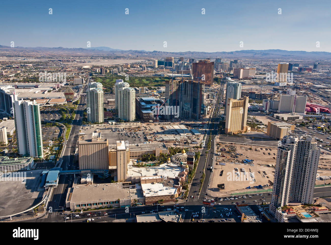 Las Vegas Nevada USA The Strip viewed from the tower of the Stratosphere Casino and Hotel with Hilton left and Sahara. JMH5458 - Stock Image