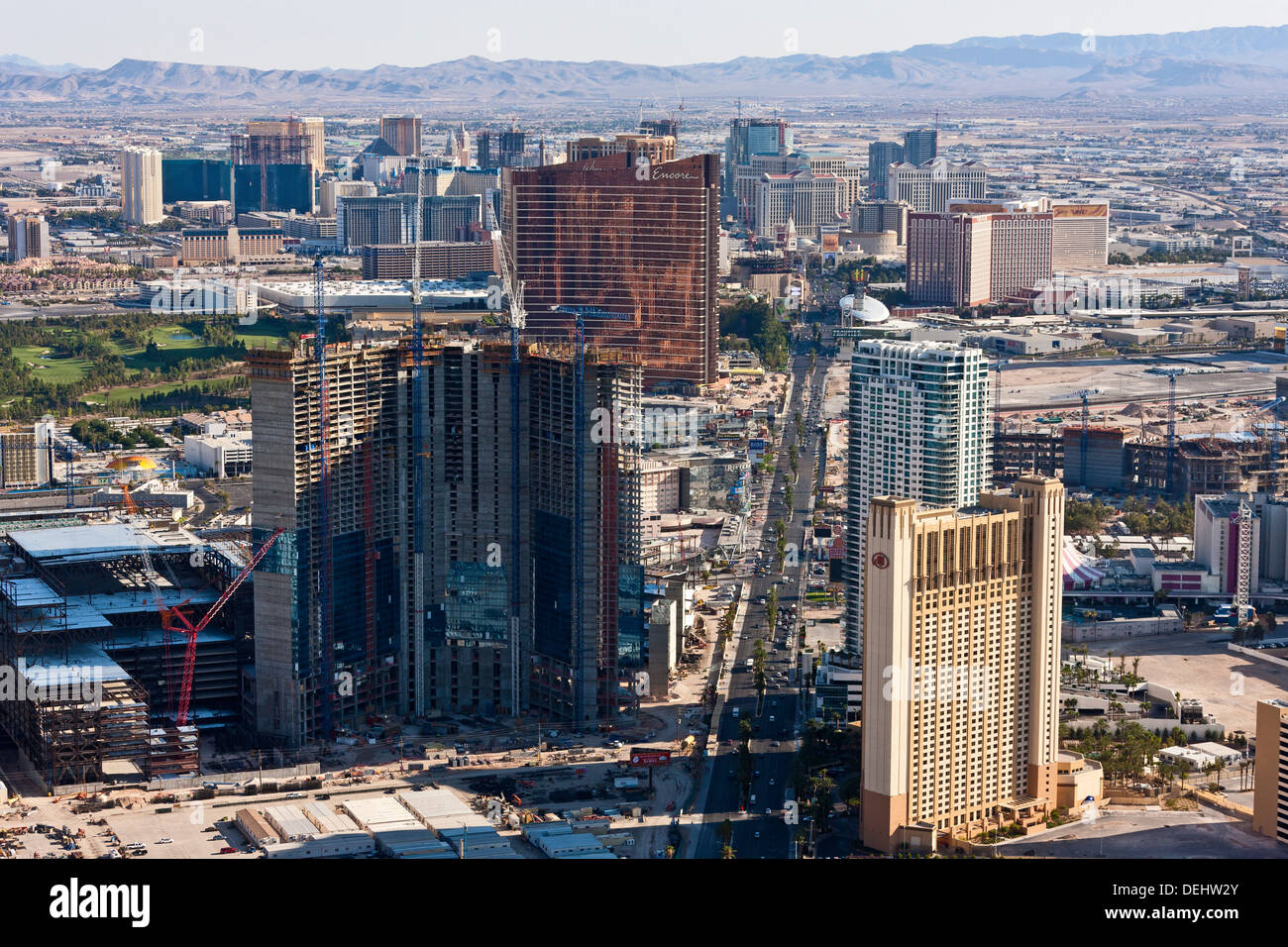 Las Vegas Nevada USA viewed from the tower of the Stratosphere Casino and Hotel towards MGM Grand. JMH5459 - Stock Image