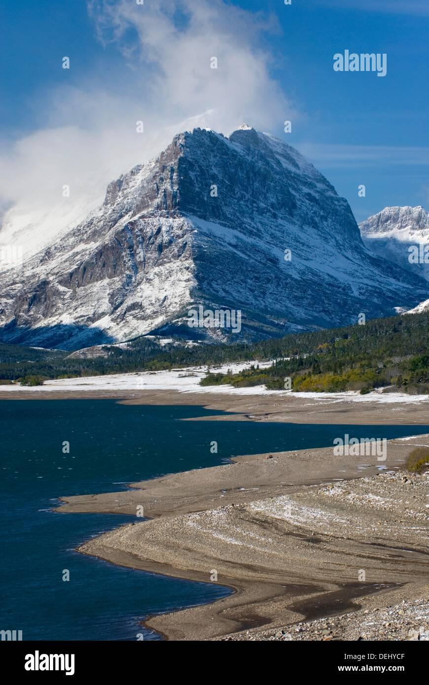 mount grinnell from lake sherburne glacier national park montana