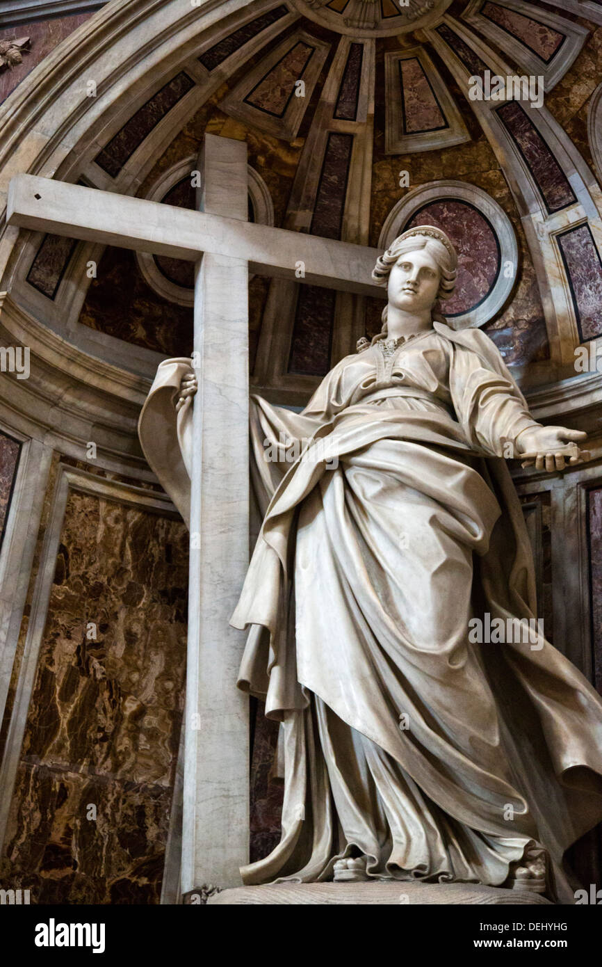 Statue Of Jesus Christ With Cross In A Basilica, St. Peter