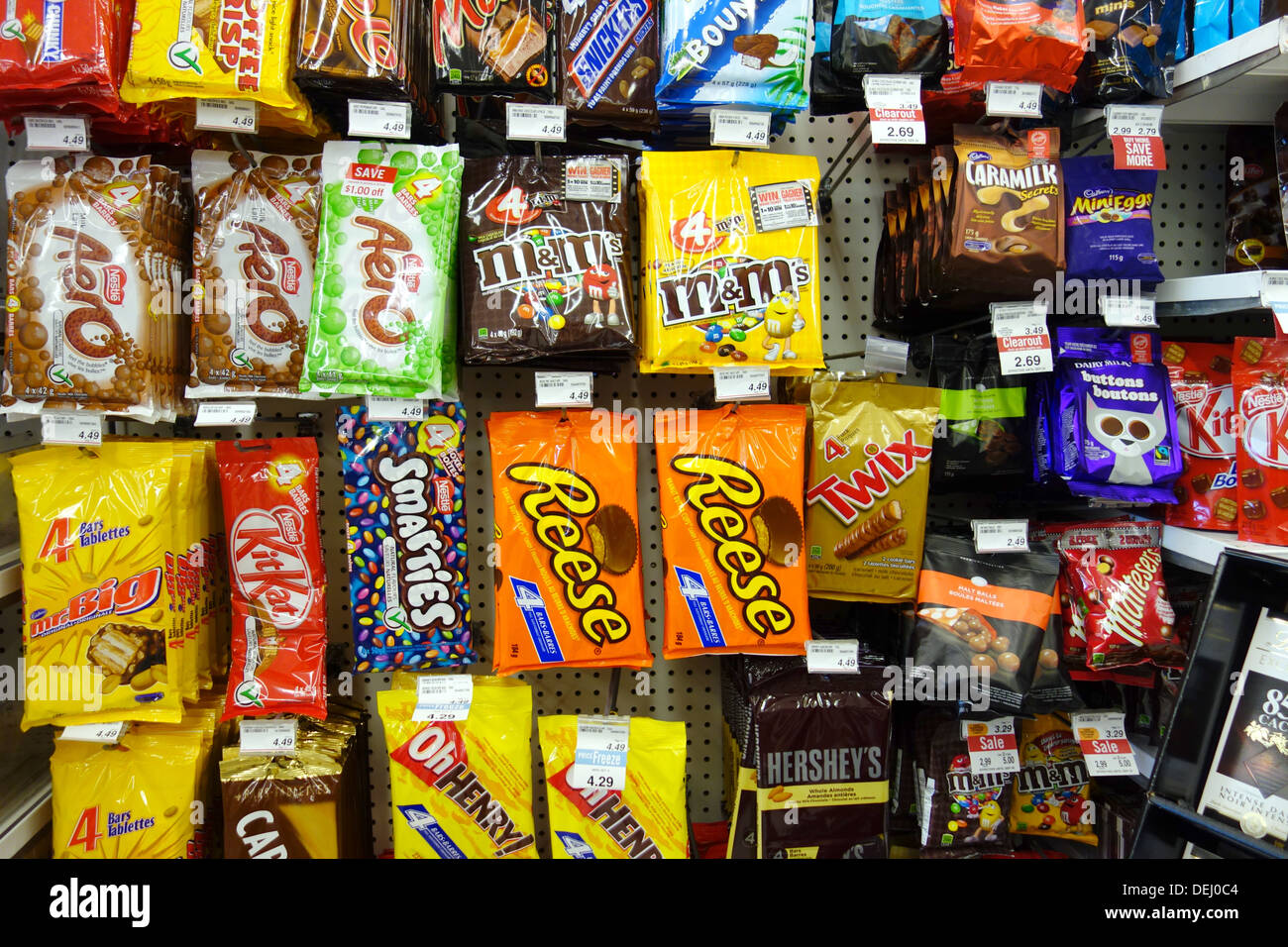 Selection of chocolate snacks in a Canadian supermarket in Toronto, Canada - Stock Image