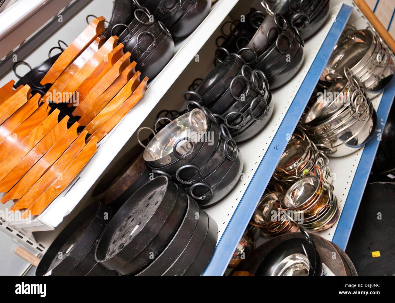 Kitchen utensils on display store - Stock Image