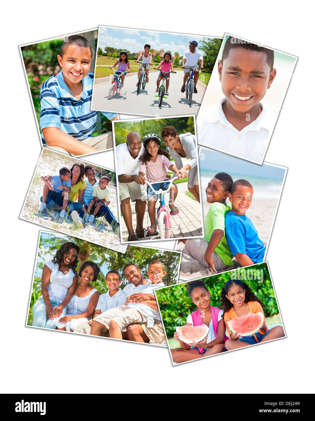 African American families mother father sons, daughters, outside having fun in the summer sunshine smiling laughing happy active - Stock Image