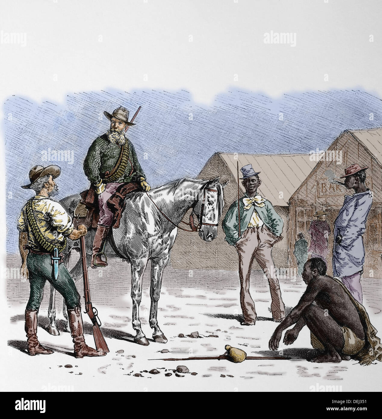 History. South Africa. Boer colonists and black south African. 1860. Colored engraving. - Stock Image