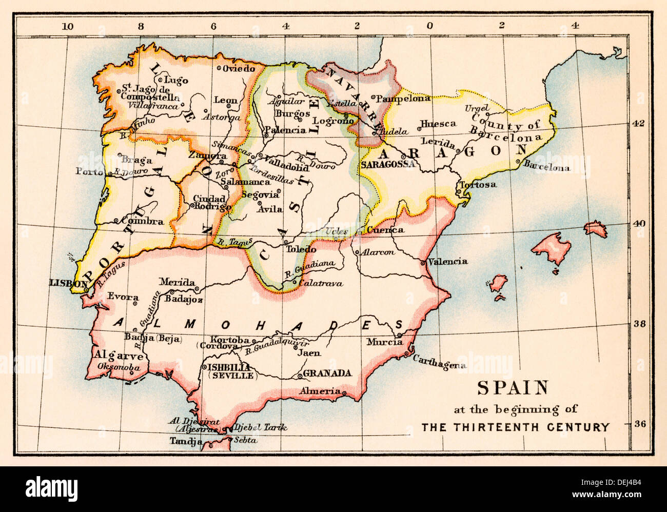 Map of the Iberian Peninsula under the Moors, 13th century. Color ...