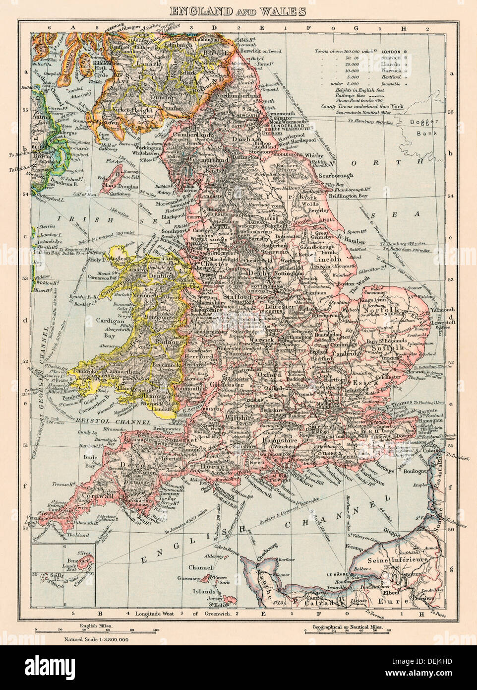 Map of England and Wales, 1870s. Color lithograph - Stock Image
