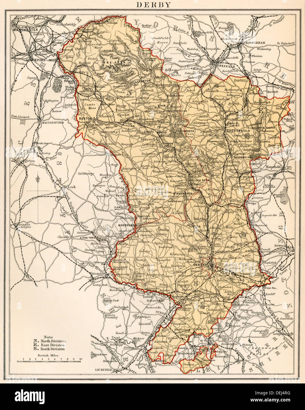 Map Of England Derbyshire.Map Of Derbyshire England 1870s Color Lithograph Stock Photo