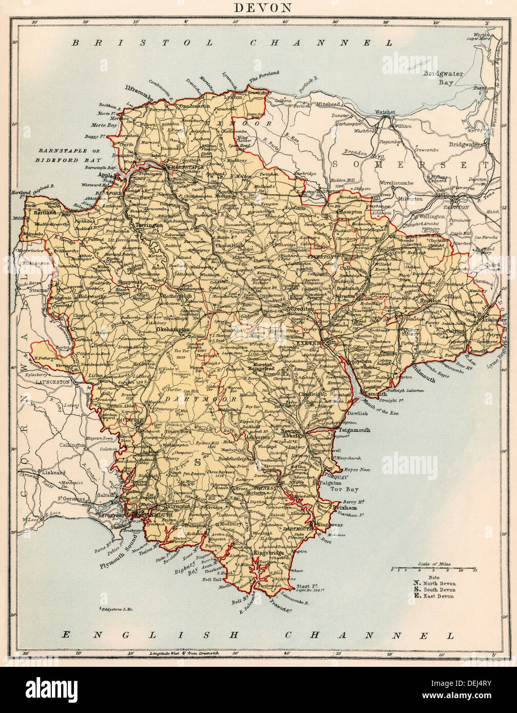 Map of Devon England 1870s Color lithograph