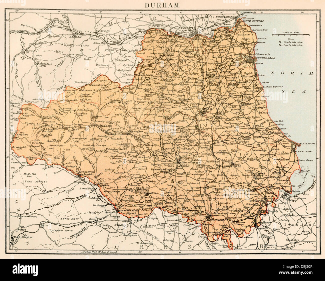 Map of Durham, England, 1870s. Color lithograph - Stock Image