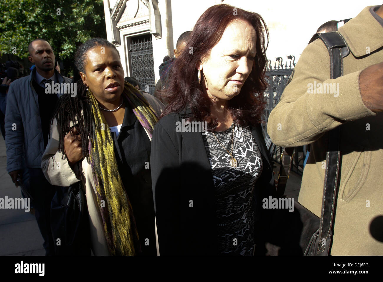 Pamela Duggan the mother of Mark Duggan arrives at The Royal Courts of Justice in London Britain 16 September 2013 - Stock Image
