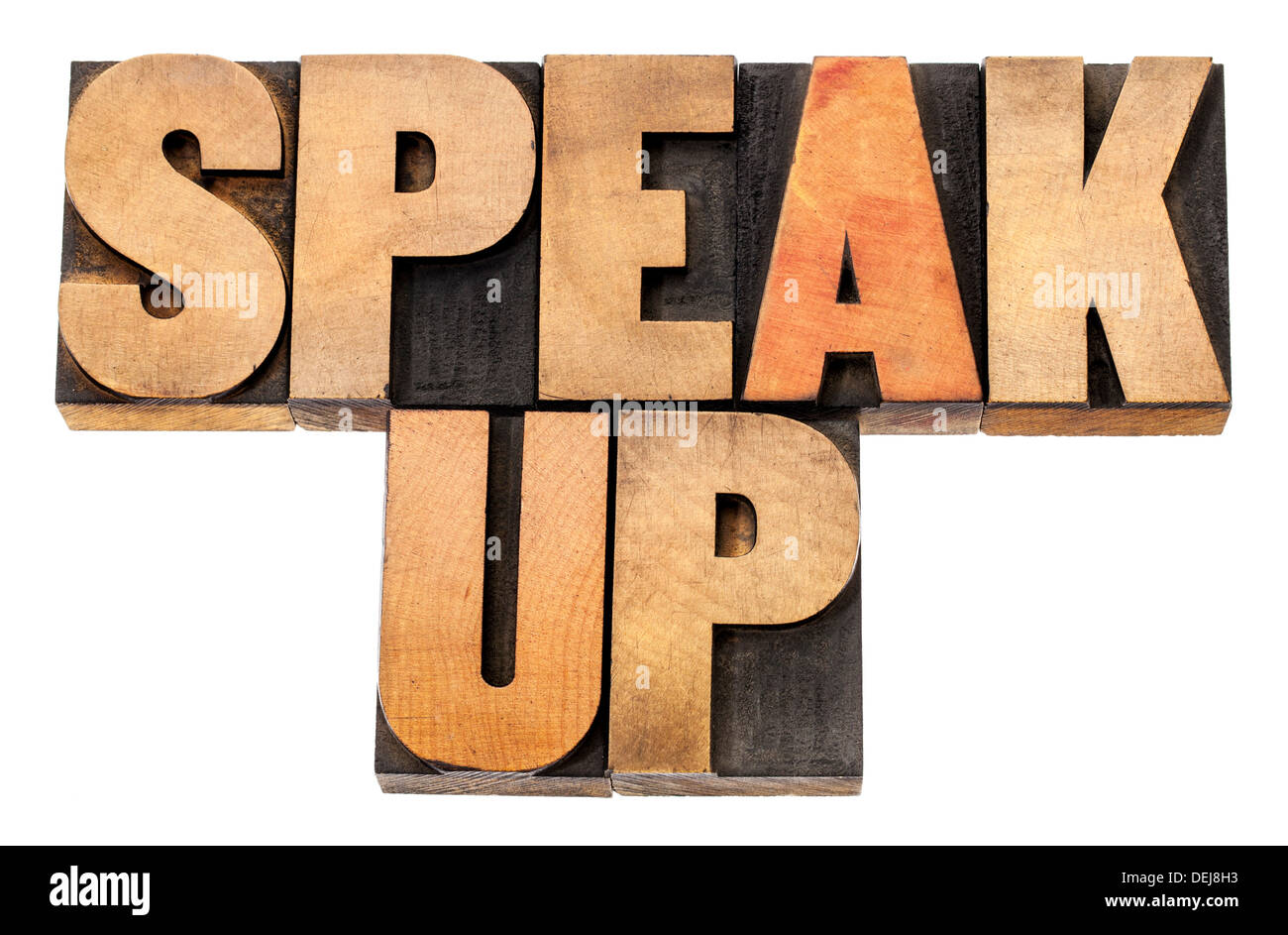 speak up - motivation concept - isolated text in letterpress wood type - Stock Image
