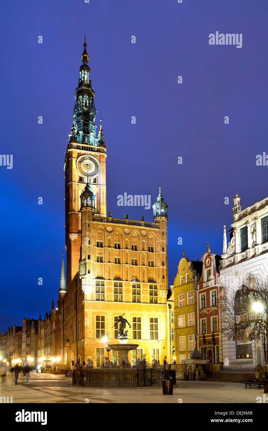 old city hall in gdask, poland, at night Stock Photo