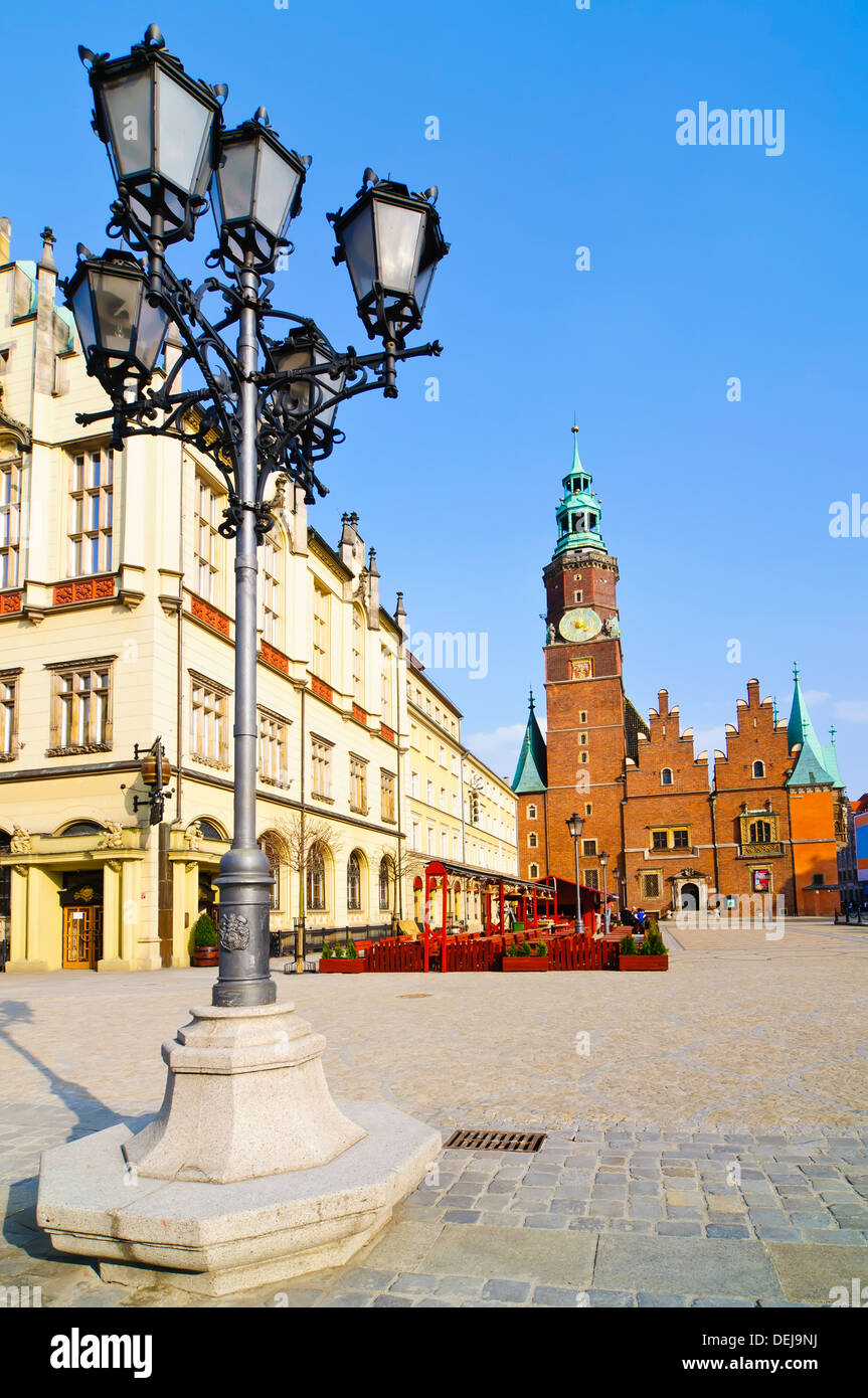 historic center with old city hall in wroclaw, poland - Stock Image