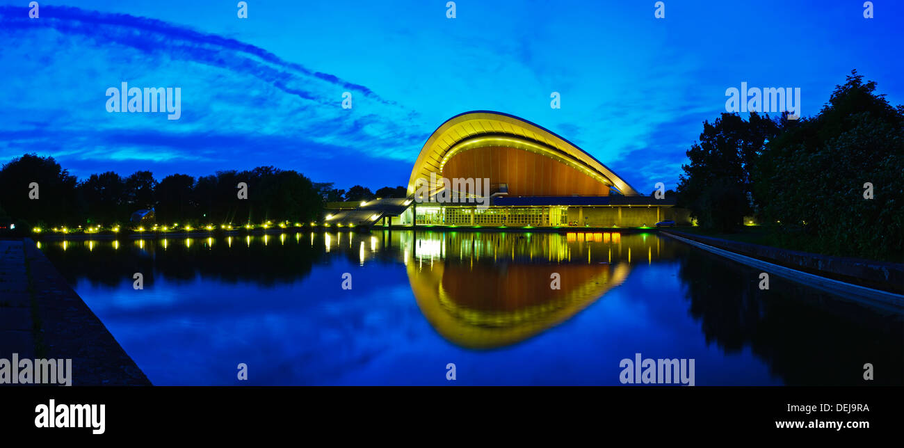 beautiful panorama landscape with house of world cultures (haus der kulturen der welt) in berlin with reflection in water - Stock Image