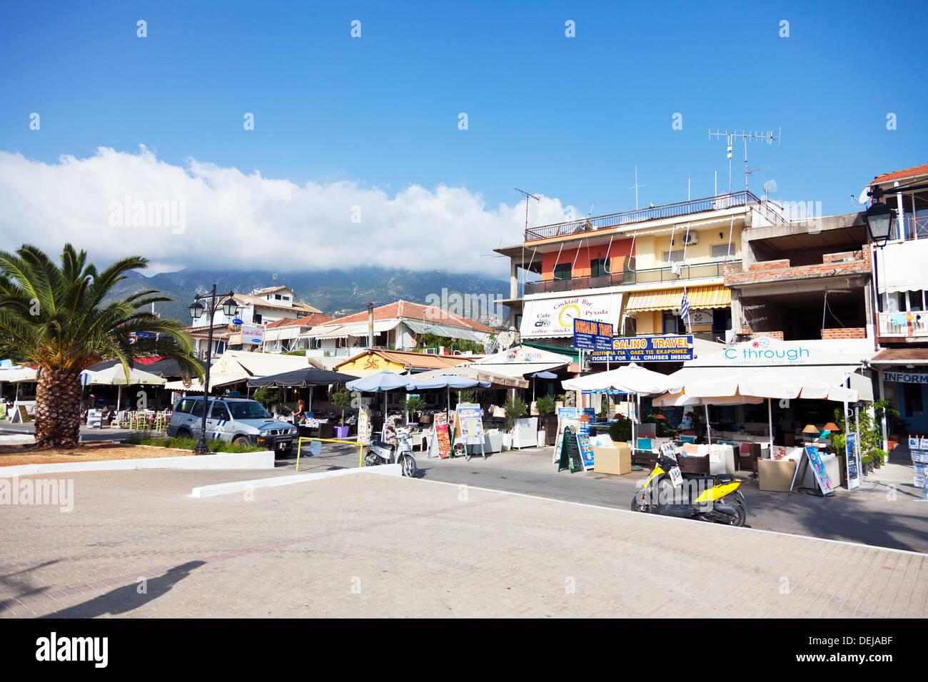 Nidri Tavernas and restaurants on harbour front Lefkas Lefkada Greek Island Greece Nydri - Stock Image