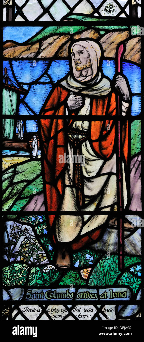 St Columba arriving on Iona in 563 AD, Kirkby Malham Church, Malhamdale Yorkshire Dales National Park, England - Stock Image