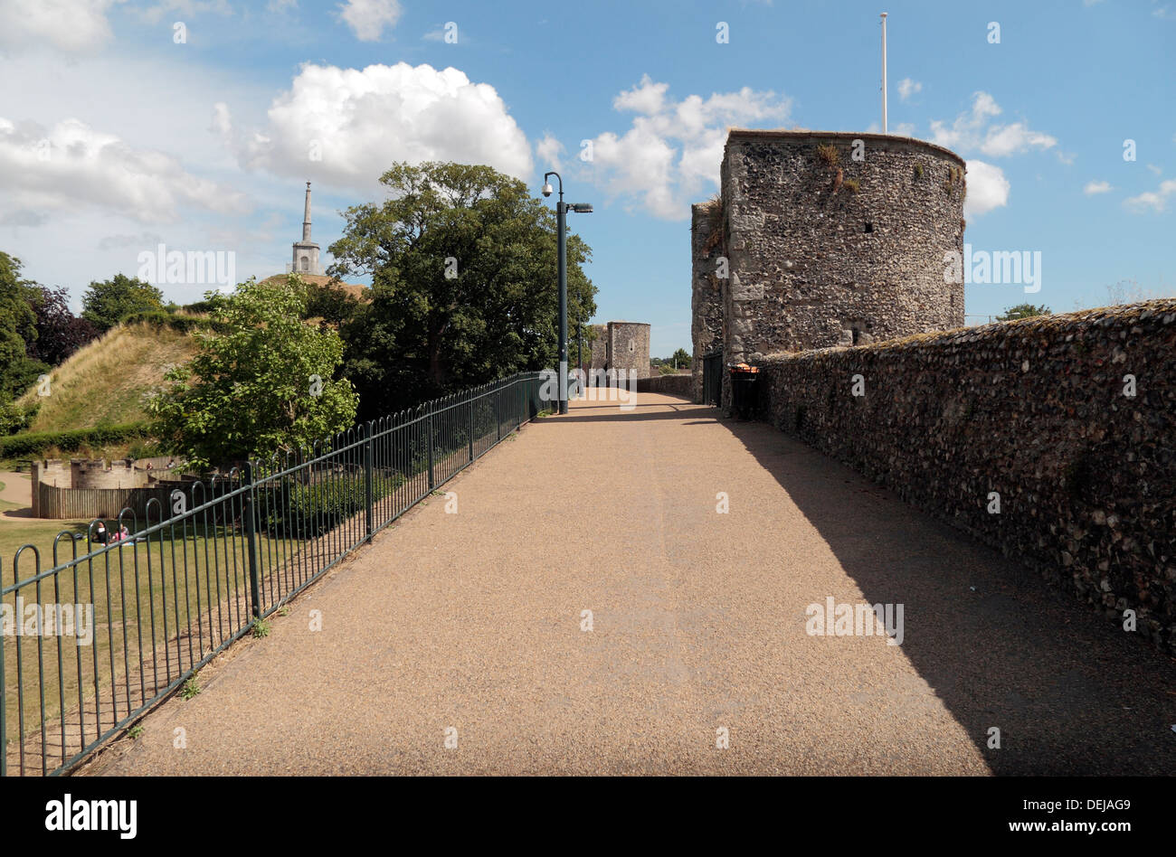 Walkway along the historic city walls which encircle the centre of Canterbury, Kent, UK. - Stock Image