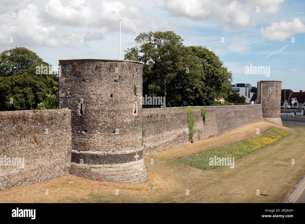 Park of the historic city walls which encircle the centre of Canterbury, Kent, UK. - Stock Image