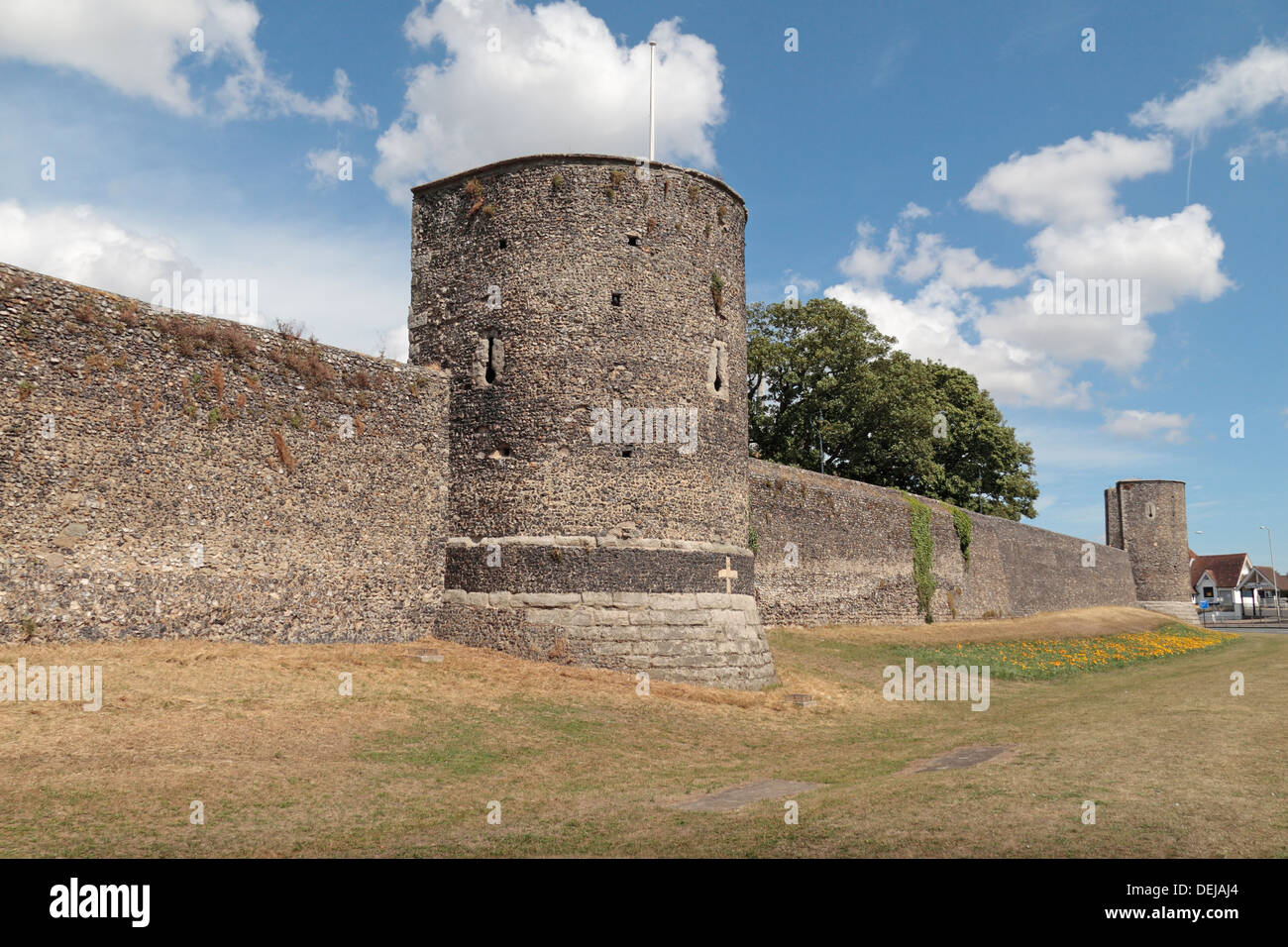 Part of the historic city walls which encircle the centre of Canterbury, Kent, UK. - Stock Image