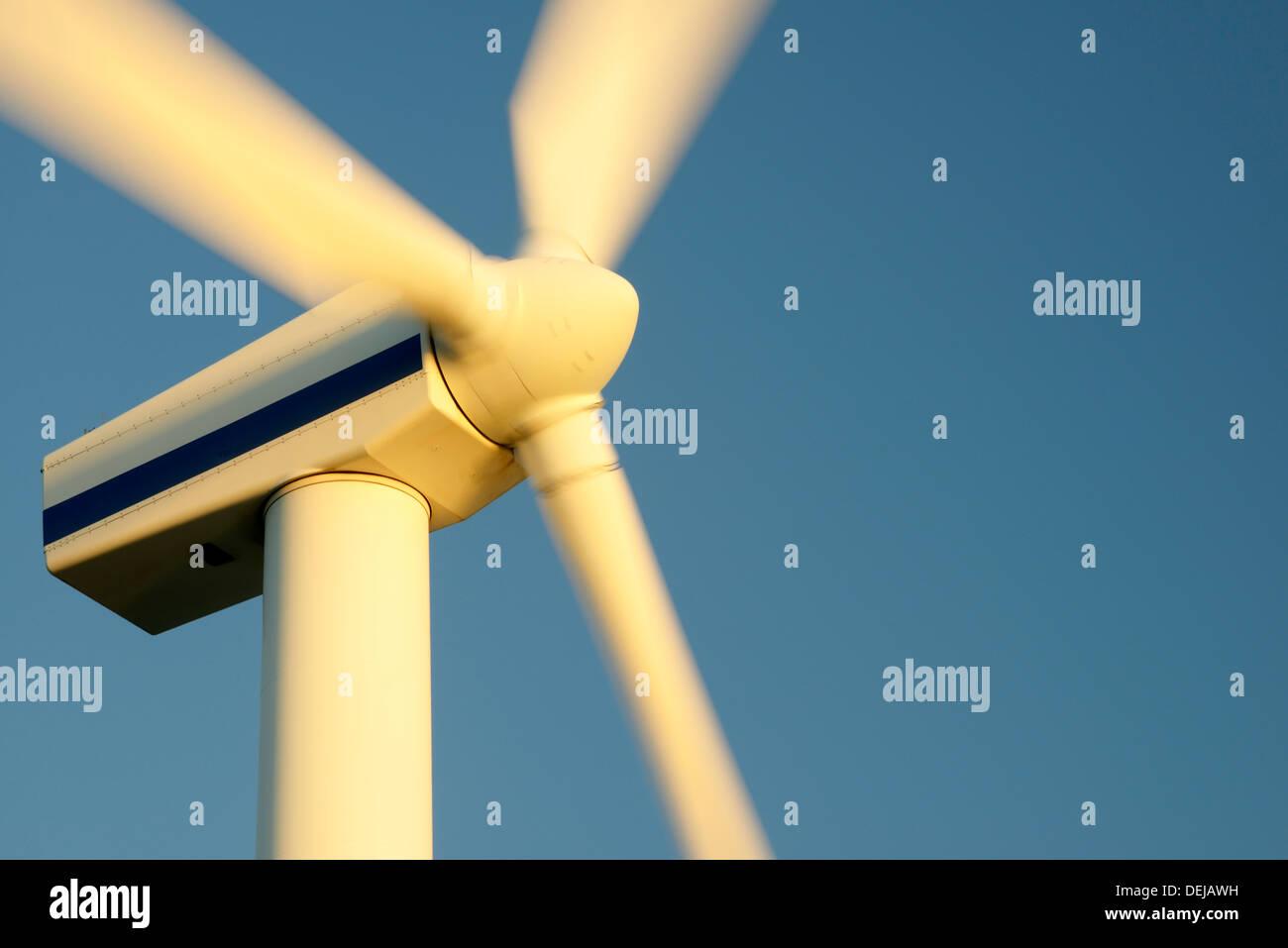 Wind turbine rotors with blue sky generating electricity on wind farm at Workington, Cumbria, England, UK. Warm evening light - Stock Image