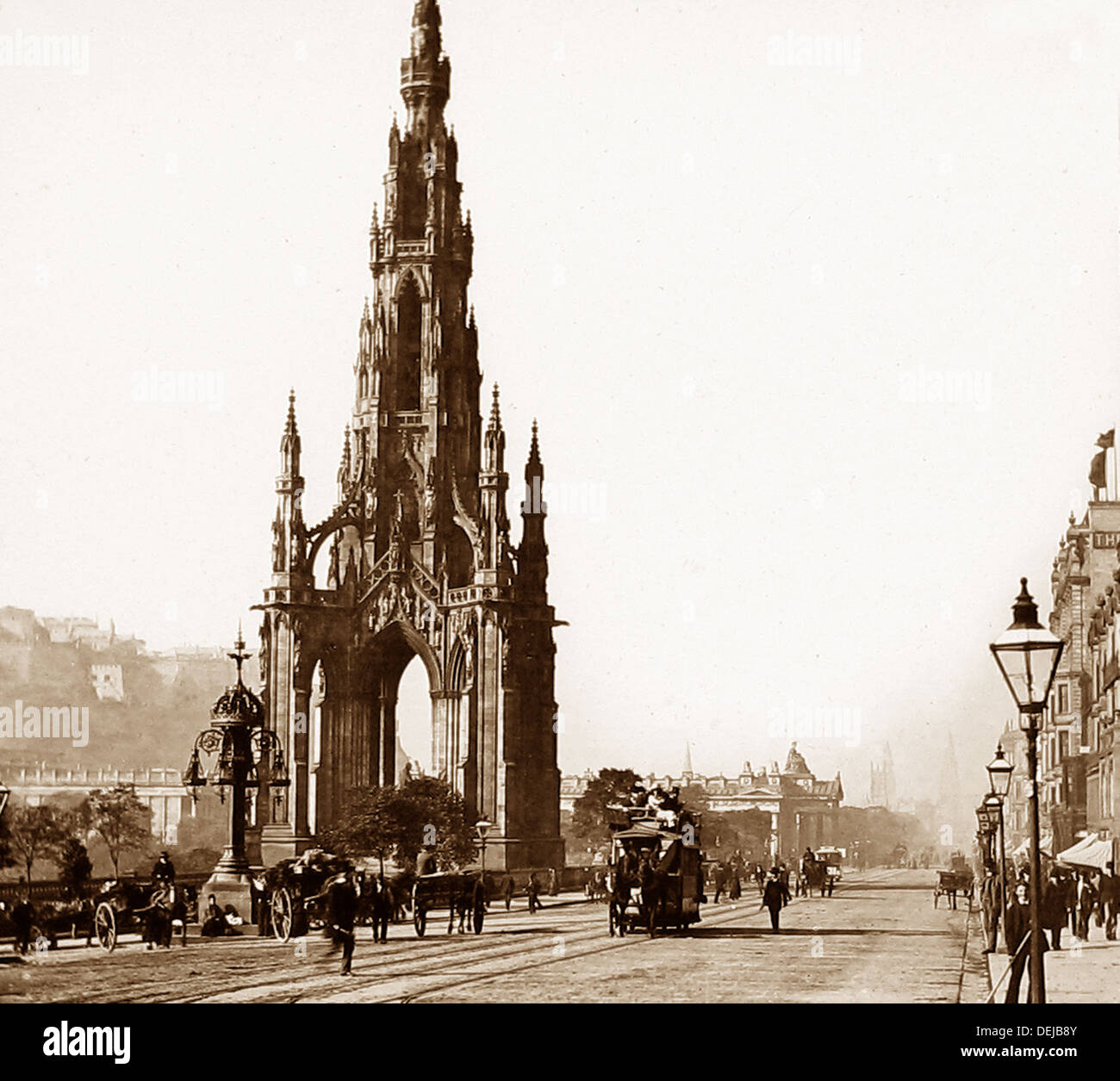 Edinburgh Sir Walter Scott Monument Princes Street Victorian period - Stock Image