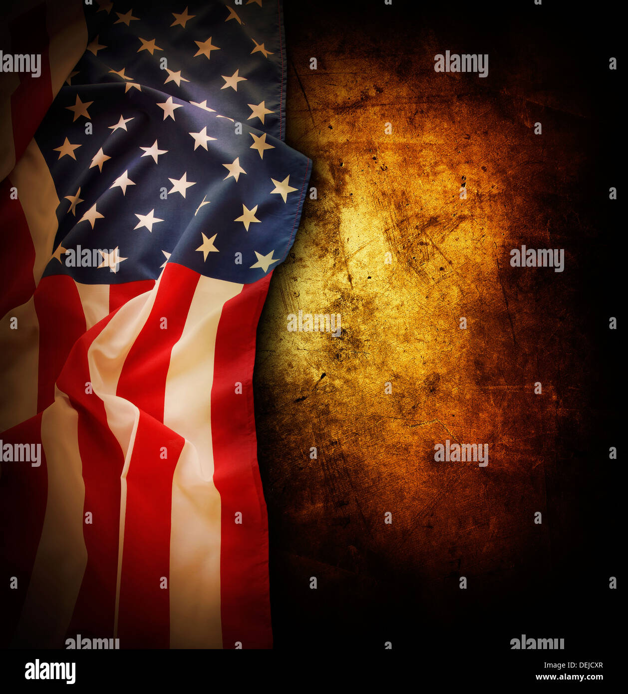 a0ce9abe9de5 Closeup of American flag on grunge background. Copy space Stock ...