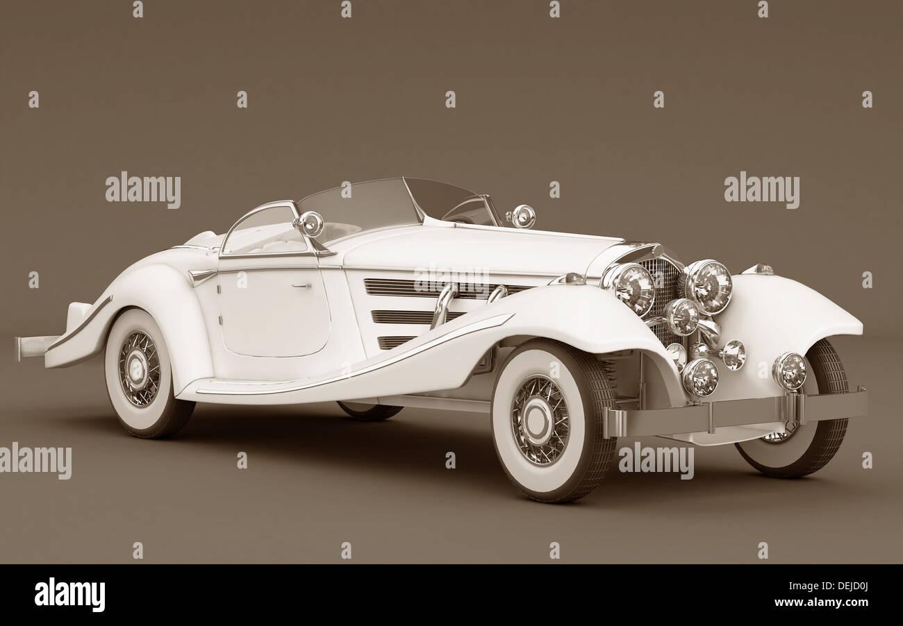White classic car, elegant and beautiful. - Stock Image