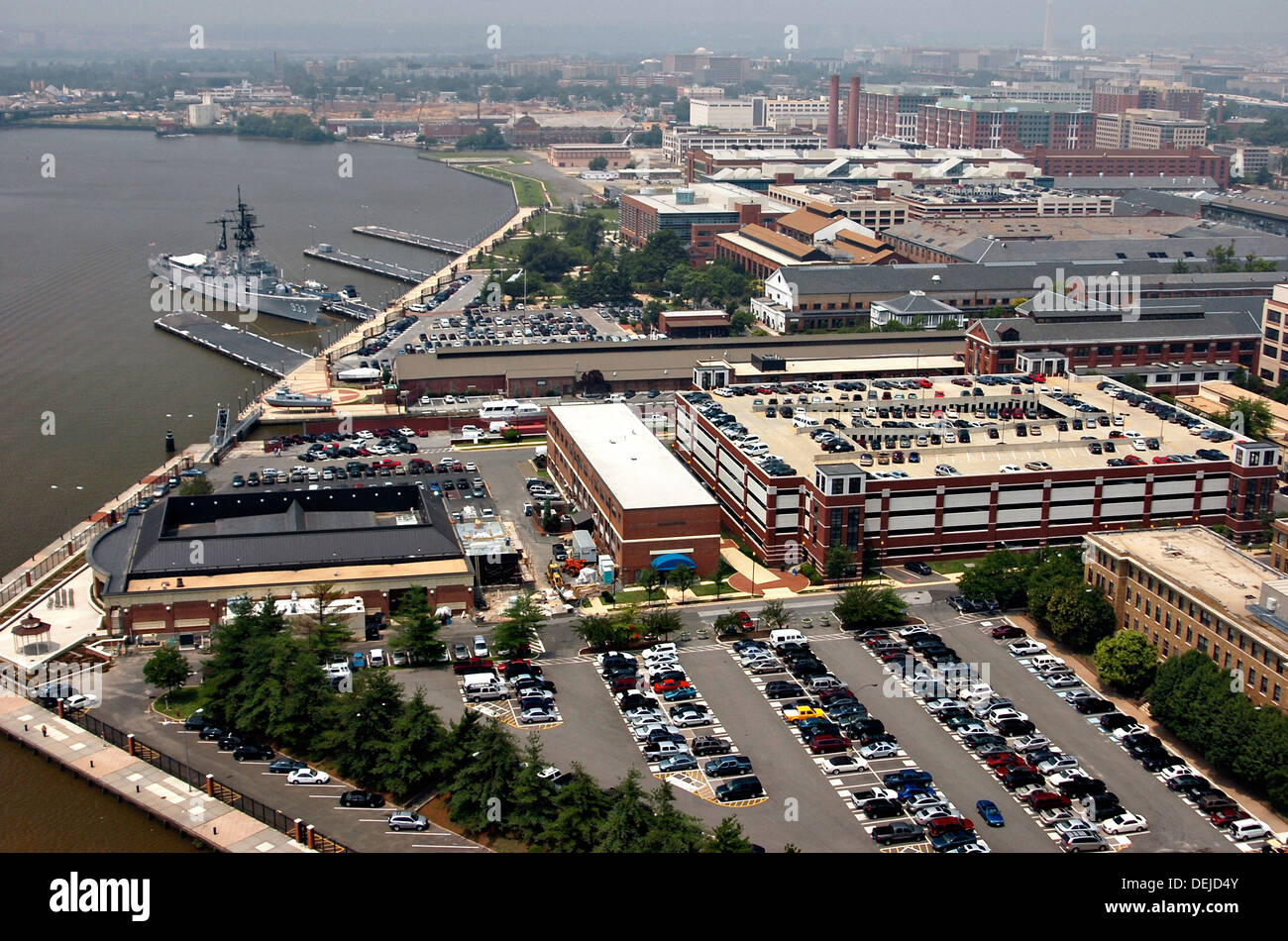 Aerial view of the Navy Yard July 12, 2006 in Washington, DC. Stock Photo