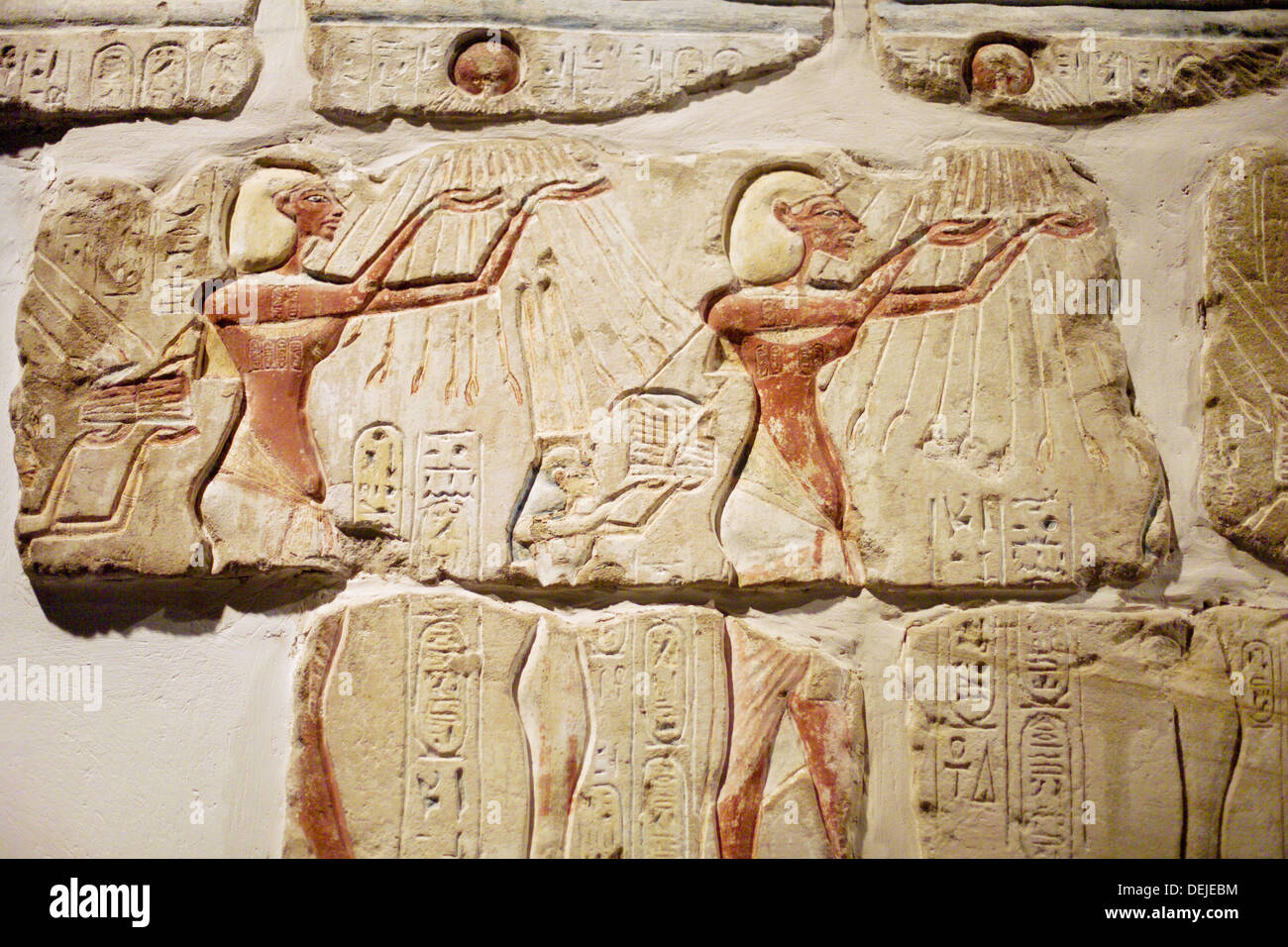 Detail of the Talatat Wall, a reconstructed wall from a temple of Amenhotep IV in the Luxor Museum. Egypt - Stock Image