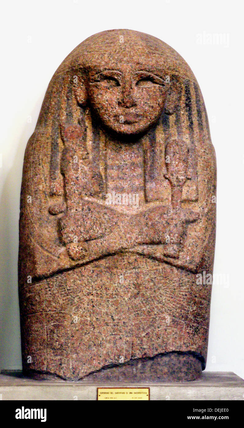 Sarcophagus of priestess (c. 1150 B.C.) in the Egyptian Museum of Torino, Italy - Stock Image