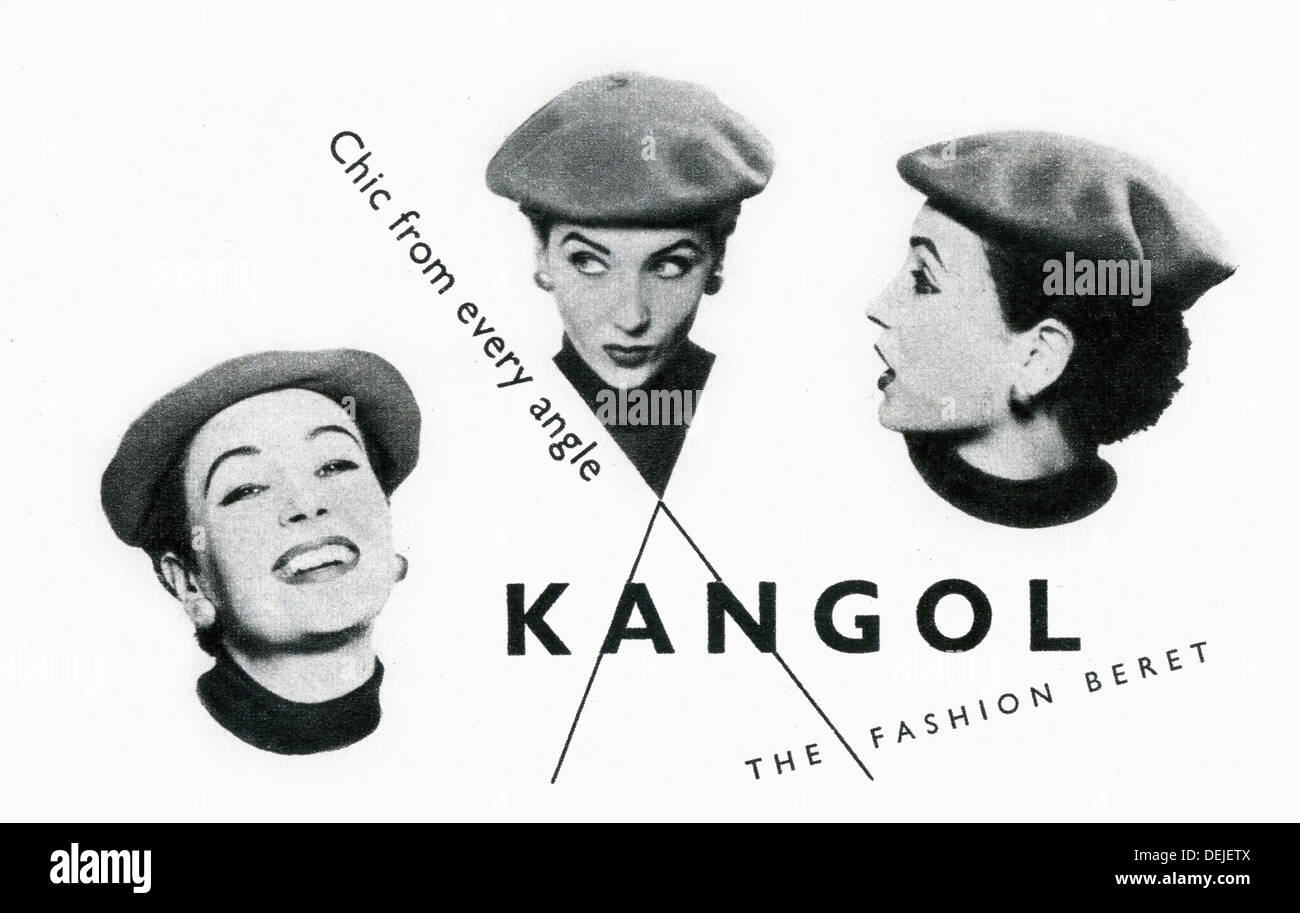advert for Kangol  beret in 1953 in the UK - Stock Image