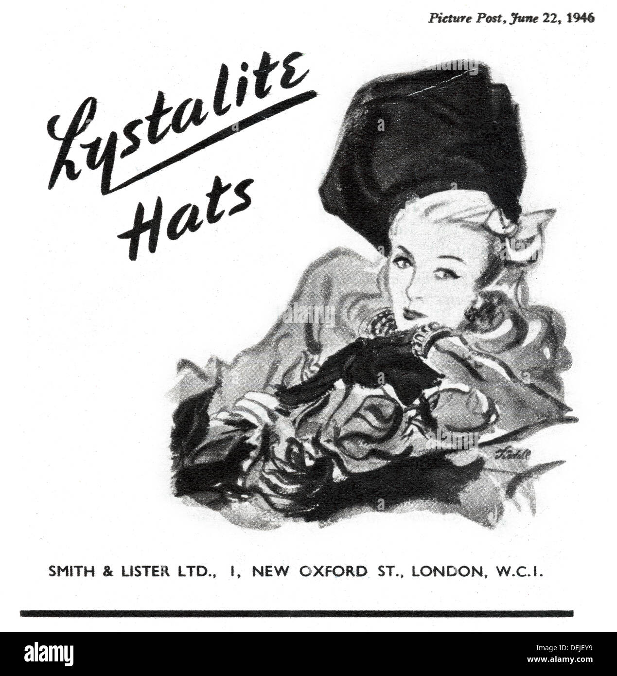 advert for Lystalite hats in 1946 in the UK - Stock Image