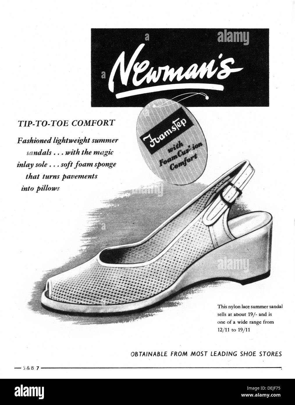 advert for women's shoes in 1953 - Stock Image