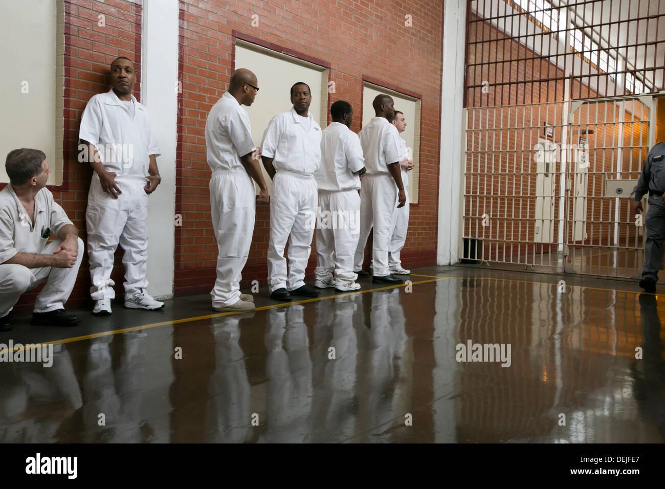 Male inmates at the Darrington Unit near Houston, Texas line up