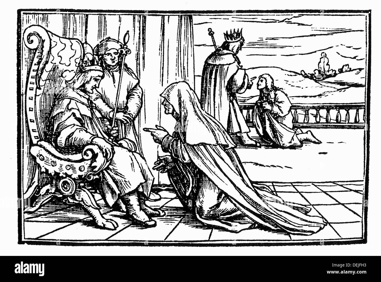 The woman from Tekoa tells her story to King David. Engraving by Holbein. Lyon, 1547 - Stock Image