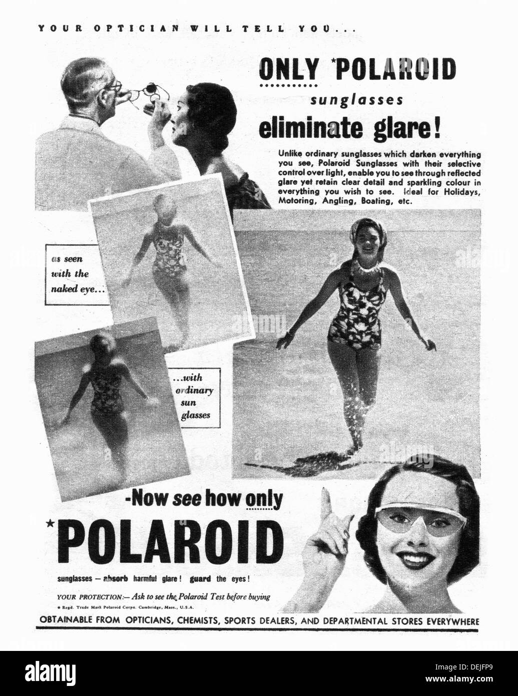 Polaroid sunglasses advert in 1953 in the UK - Stock Image