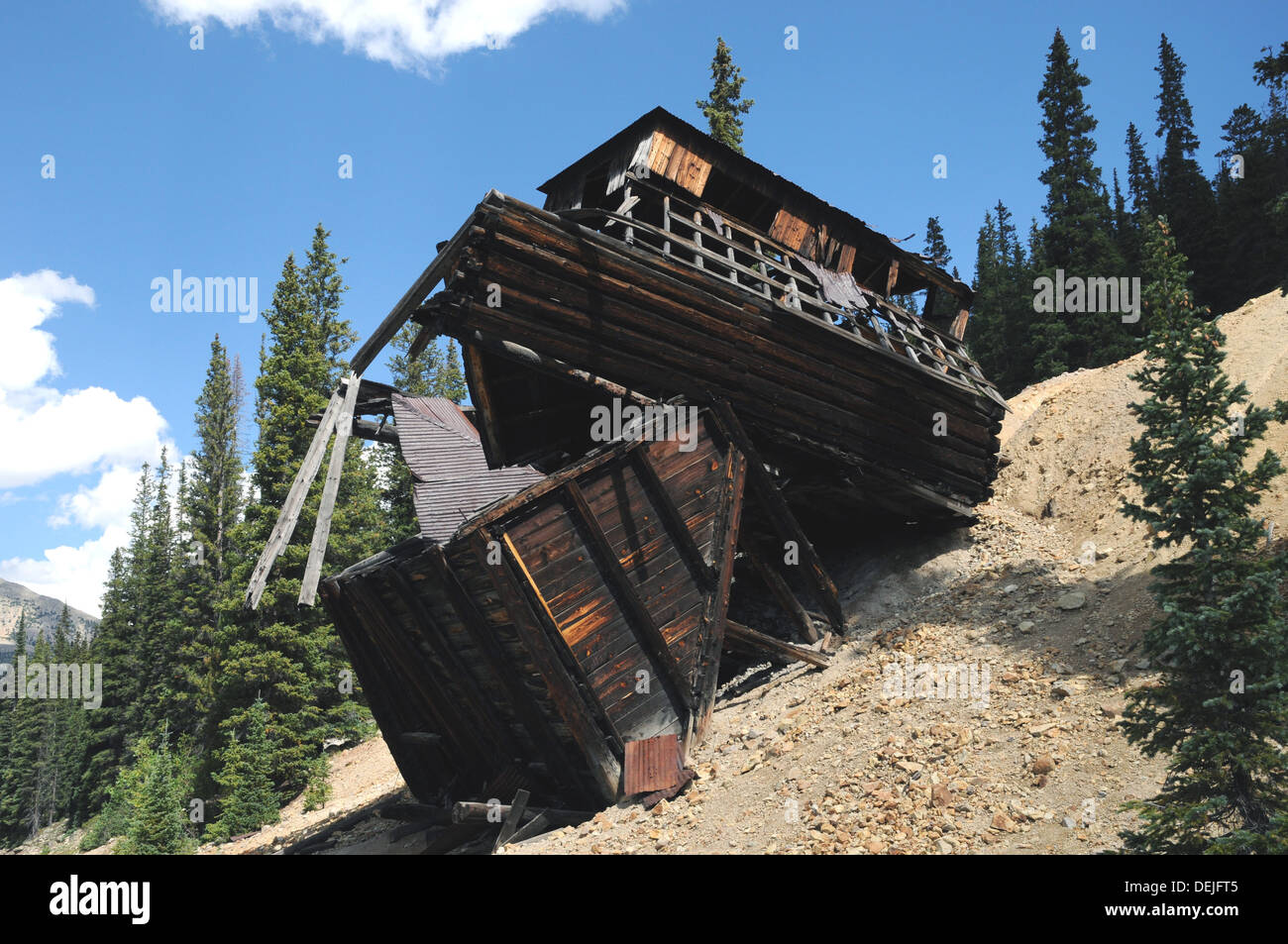 Old mining remains near St Elmo Ghost Town, in Colorado. - Stock Image
