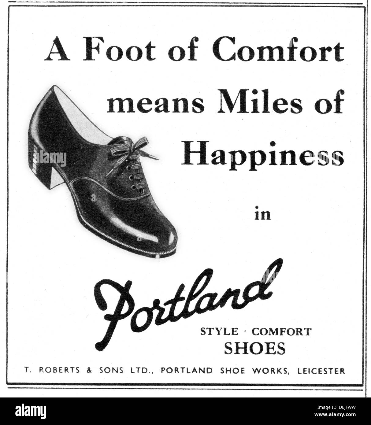 advert for Portland women's shoes in 1947 - Stock Image