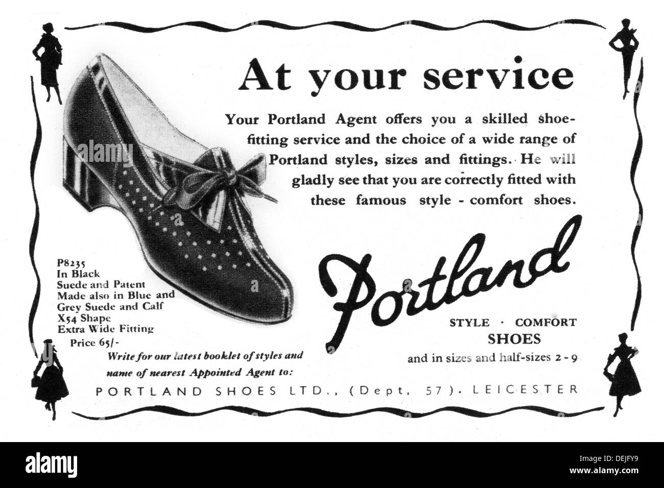advert for Portland women's shoes in 1953 - Stock Image