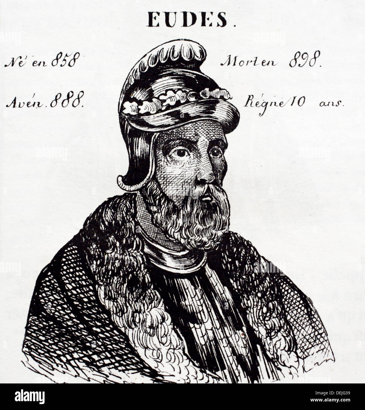 Eudes, king of France from 888 to 898. History of France, by  J.Henry (Paris, 1842) - Stock Image