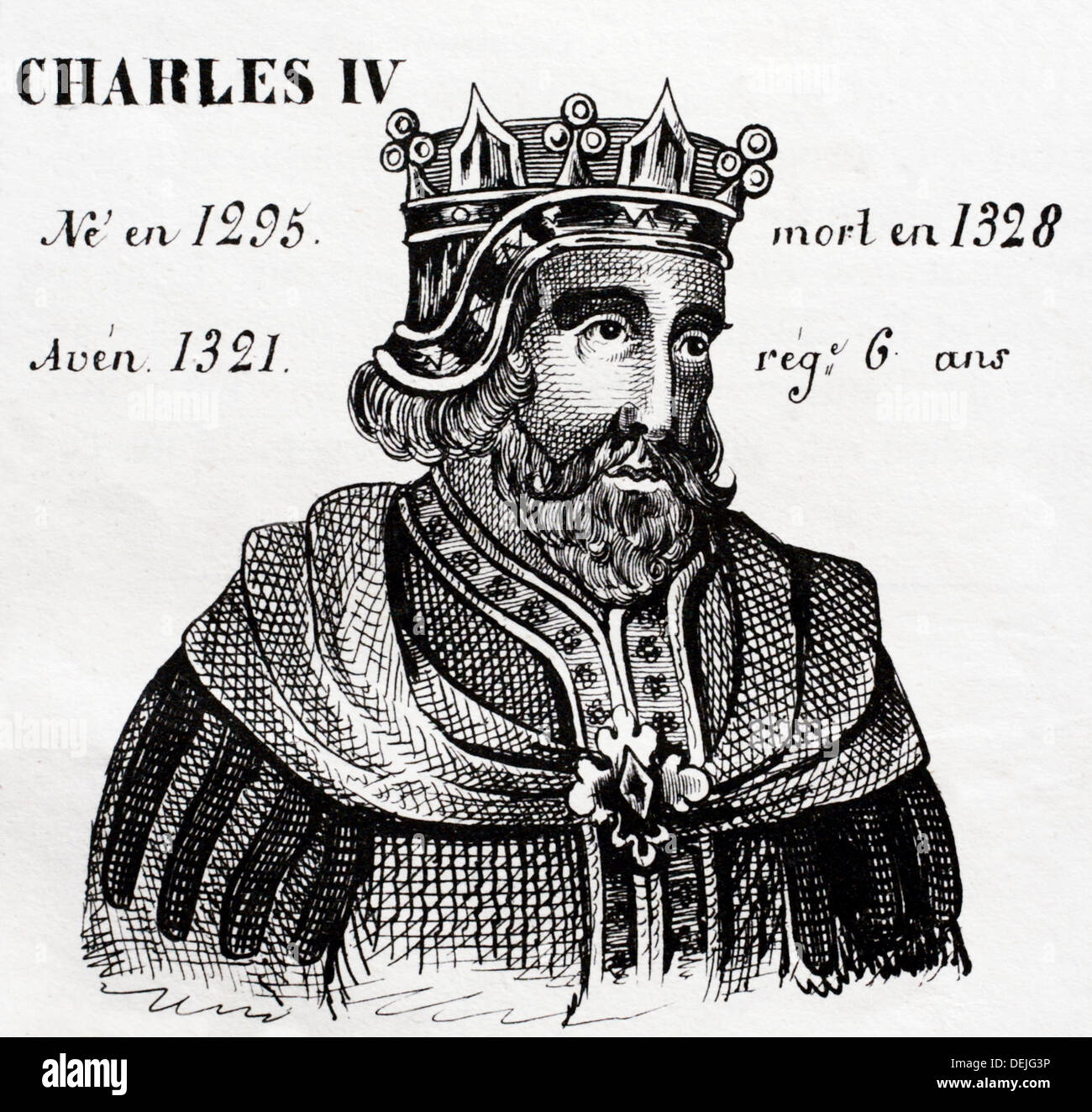 Charles IV, king of France from 1321 to 1328. History of France, by  J.Henry (Paris, 1842) Stock Photo