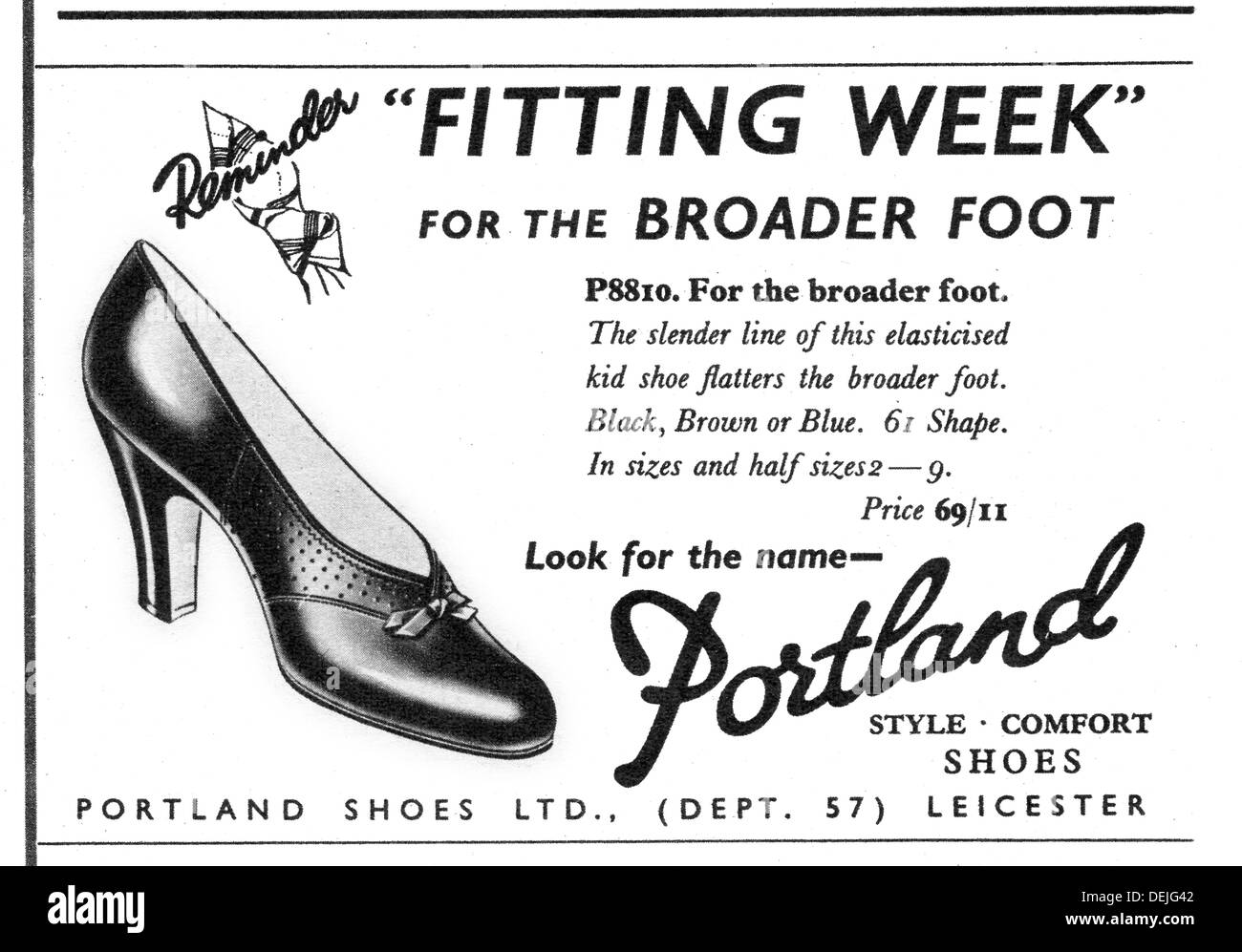 advert for Portland women's shoes in 1957 - Stock Image