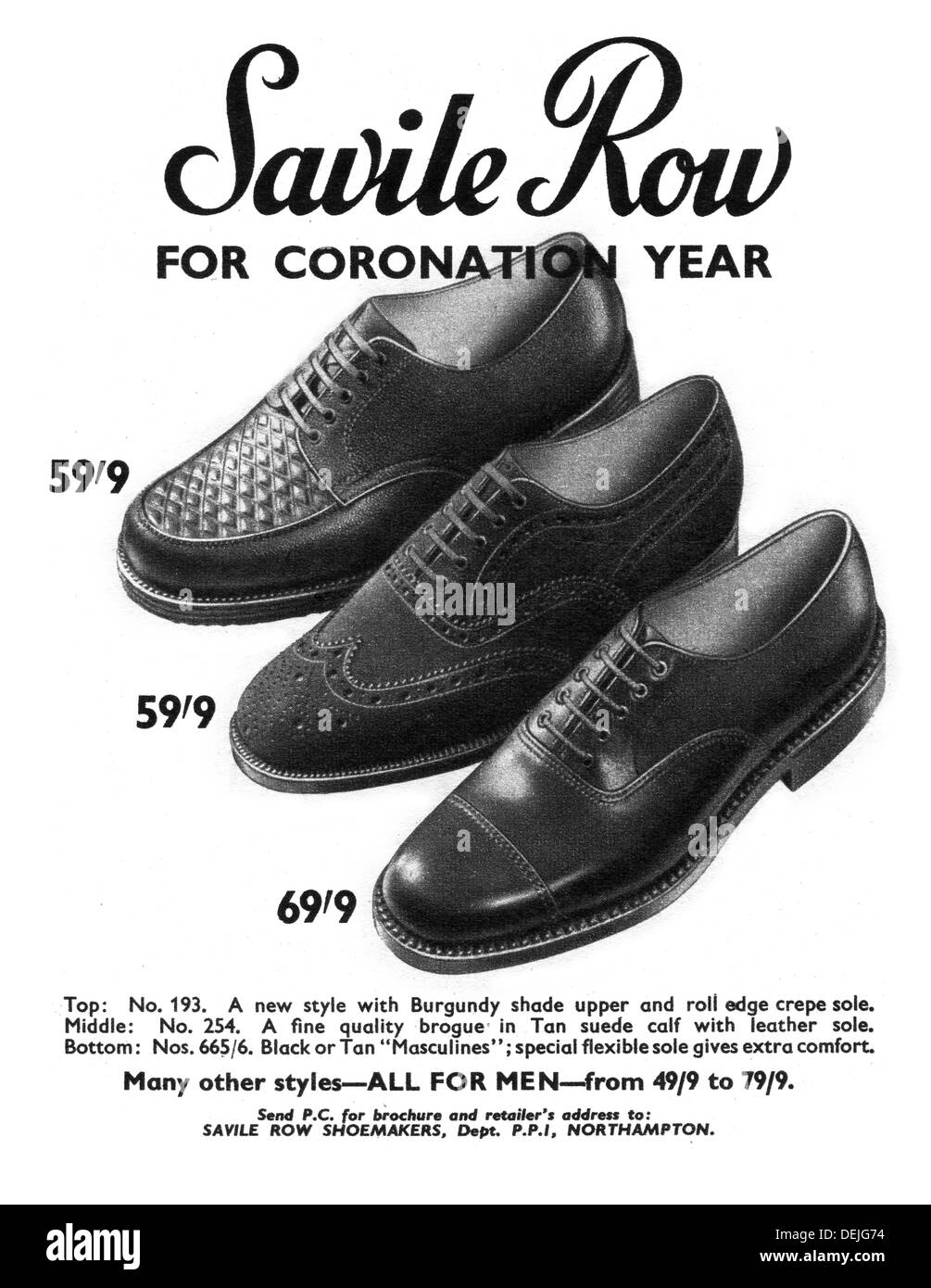advert for mens shoes in 1953 - Stock Image
